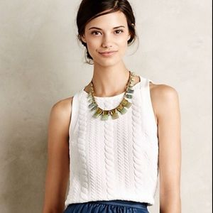 Anthropologie Bordeaux Cable Knit Tank